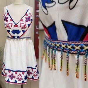 Luxmi   L beaded waist accents pink & blue print